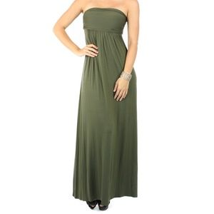 Fashion Olive Party  Strapless Maxi Dress